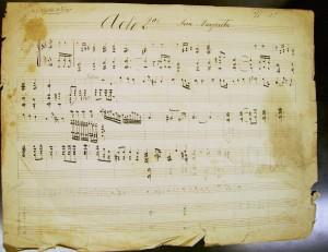 Manuscrito autógrafo- Esbozo del Aria de Margarita